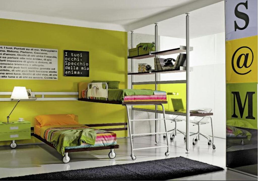 Camerette con doppio letto spazio condiviso o pareti divisorie - Pareti dipinte per camerette ...