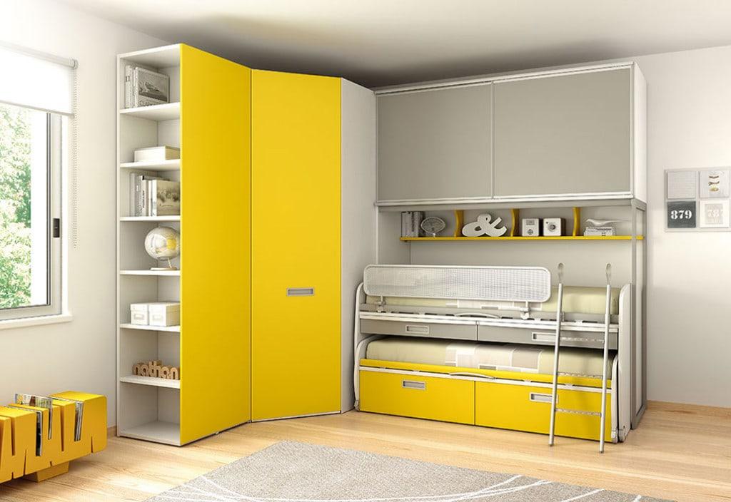 Camerette con doppio letto spazio condiviso o pareti divisorie - Letto moretti compact ...