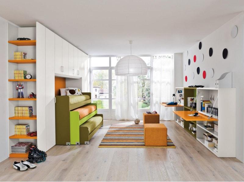 Camerette con doppio letto spazio condiviso o pareti divisorie - Pareti mobili casa ...