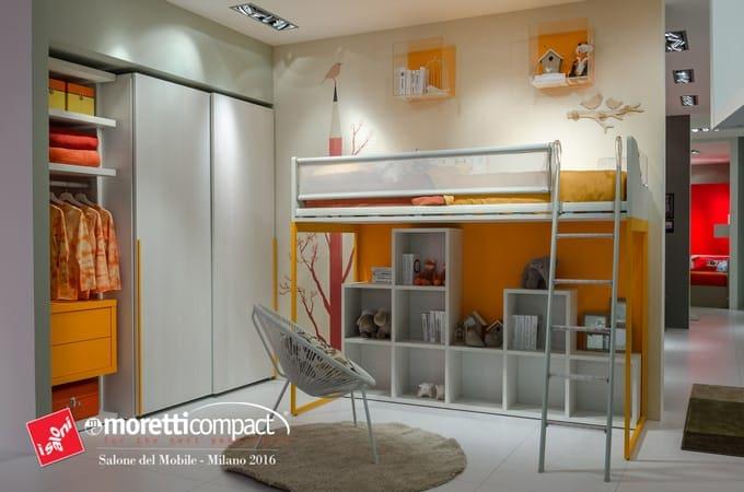 novità Moretti compact cameretta a Soppalco bambini e ragazzi-Salone del Mobile 2016